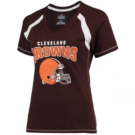 Cleveland Browns Majestic Women's Plus Size Game Day V-Neck T-Shirt – Brown