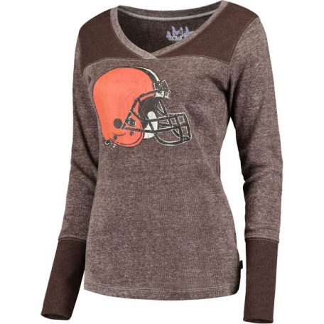 Cleveland Browns Touch by Alyssa Milano Women's Goal Line Long Sleeve V-Neck T-Shirt – Brown