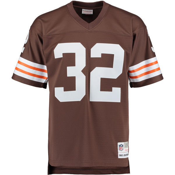 buy online 050dc 62f8f Men's Cleveland Browns Jim Brown Mitchell & Ness Brown Retired Player  Replica Jersey