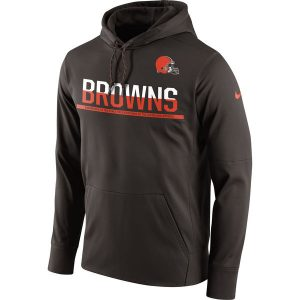 Men's Cleveland Browns Nike Brown Sideline Circuit Pullover Performance Hoodie