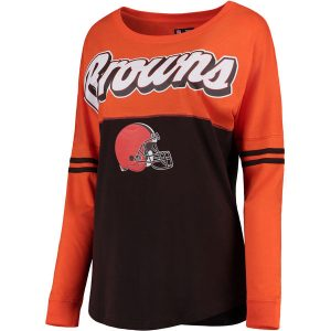 Women's Cleveland Browns Orange/Brown Athletic Varsity Long Sleeve T-Shirt