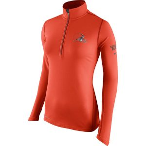Women's Cleveland Browns Nike Orange Half-Zip Performance Jacket