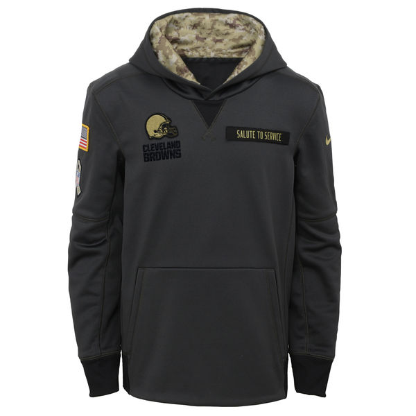 4cfaf409 Youth Cleveland Browns Nike Charcoal Salute to Service Performance Pullover  Hoodie