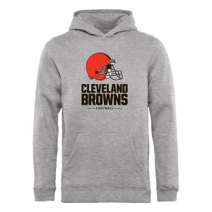 Youth Cleveland Browns Pro Line Heather Gray Team Lockup Hoodie