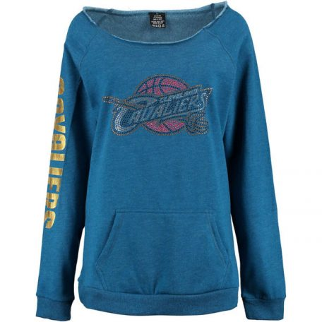 Cleveland Cavaliers Cuce Women's Sideliner III Off the Shoulder Fleece Top – Blue