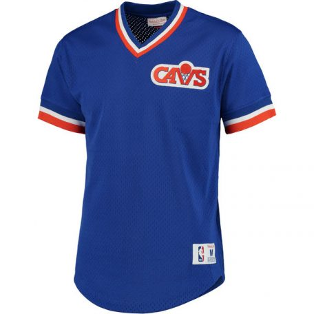 Men's Cleveland Cavaliers Mitchell & Ness Blue Mesh V-Neck T-Shirt