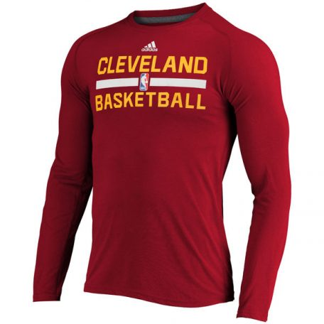 Men's Cleveland Cavaliers adidas Wine 2016 On-Court Climalite Ultimate Long Sleeve T-Shirt