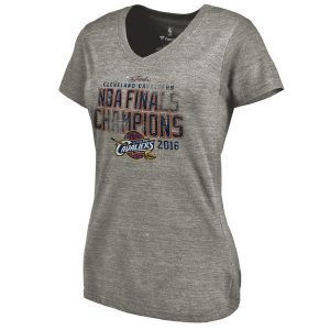 Women's Cleveland Cavaliers Heathered Gray 2016 NBA Finals Champions Tri-Blend Winger V-Neck T-Shirt