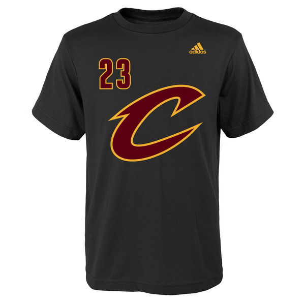 2c8586c4ab5e Youth Cleveland Cavaliers LeBron James adidas Black Game Time Name & Number  T-Shirt
