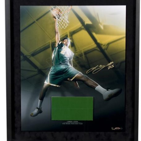 Lebron James Autographed High School Dunk 20 x24 Photograph wGame Used Floor – Framed and Limited to 223 (UDA Auth)
