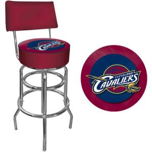 Trademark NBA Cleveland Cavaliers 40″ Padded Swivel Bar Stool with Back, Chrome