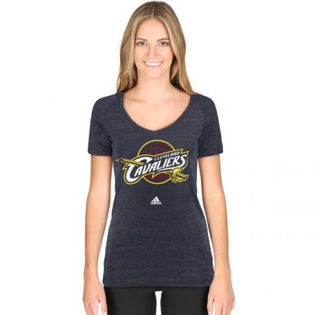 Women's Cleveland Cavaliers adidas Navy Primary Logo Tri-Blend V-Neck T-Shirtpx