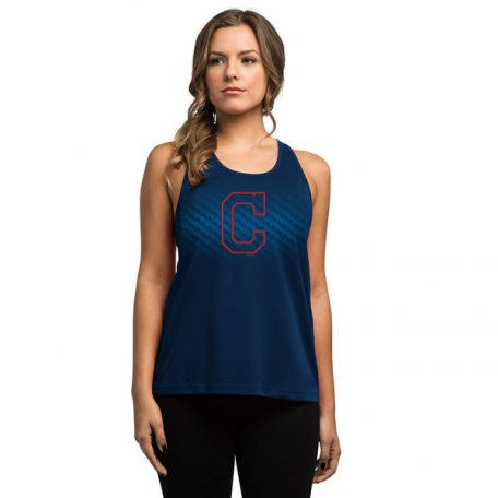Women's Cleveland Indians Majestic Navy Respect the Training Tank Top