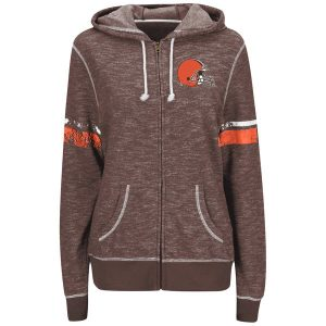 Cleveland Browns Majestic Women's Plus Size Athletic Tradition Full-Zip Hoodie – Gray
