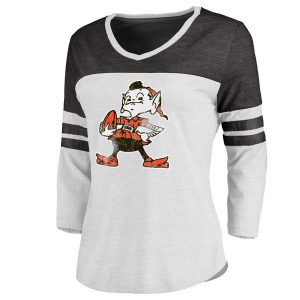 Cleveland Browns Pro Line Women's Two-Tone 3/4-Sleeve T-Shirt – White/Black