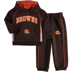 Cleveland Browns Toddler Lil Fan Gear Two-Piece Fleece Set- Brown
