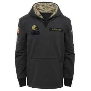Youth Cleveland Browns Nike Charcoal Salute to Service Performance Pullover Hoodie
