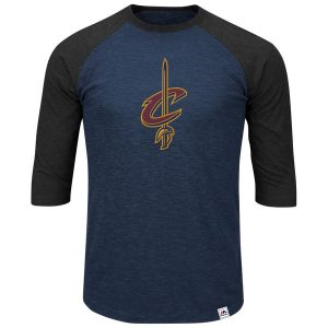 Men's Cleveland Cavaliers Majestic Navy 3/4-Sleeve T-Shirt