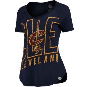 Women's Cleveland Cavaliers Majestic Navy Fanatic Force Scoop Neck T-Shirt