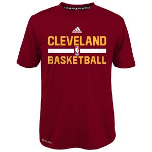 Youth Boy's Cleveland Cavaliers adidas Red Practice Wear Performance T-Shirt
